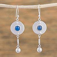 Agate dangle earrings, 'Taxco Blue' - Taxco Silver Dangle Earrings with Blue Agate Cabochons