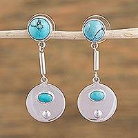 Turquoise dangle earrings, 'Moon Pools' - Artisan Crafted Turquoise and Taxco Silver Dangle Earrings