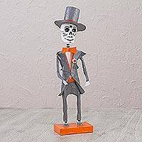 Papier mache sculpture, 'Dapper Catrin' - Papier Mache Catrin Sculpture in Grey and Orange from Mexico