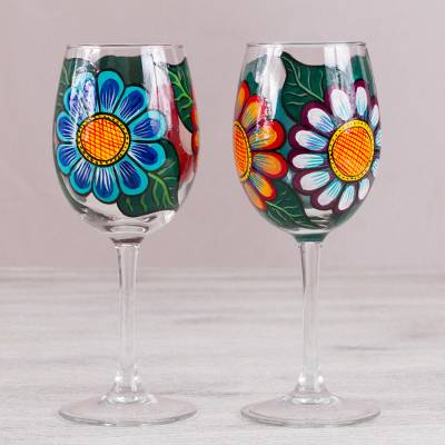 Hand Painted Pair Of Floral Wine Glasses From Mexico Floral
