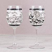 Hand-painted wine glasses, 'Cup of History' (pair) - Two Hand-Painted Village-Themed Wine Glasses from Mexico