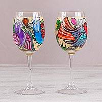 Hand-painted wine glasses, 'Favorite Birds' (pair) - Two Hand-Painted Paradise Birds Wine Glasses from Mexico