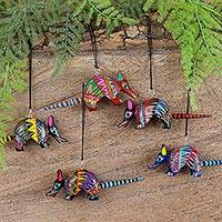 Wood alebrije ornaments, 'Happy Armadillos' (set of 5) - Five Hand-Painted Armadillo Alebrije Ornaments from Mexico