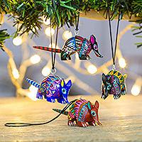 Wood alebrije ornaments, 'Happy Armadillos' (set of 5) - Five Hand-Painted Armadillo Alebrije Ornaments from Mexico