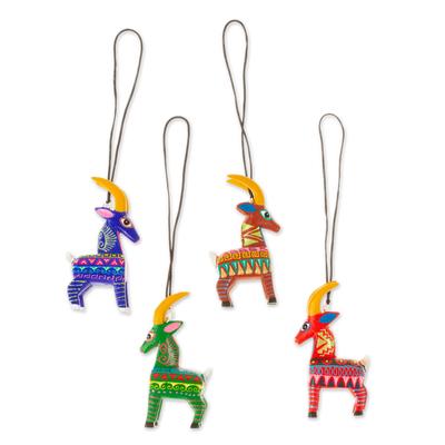 Wood alebrije ornaments, 'Colorful Goats' (set of 5) - Five Hand-Painted Goat Alebrije Ornaments from Mexico
