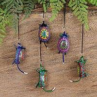 Wood alebrije ornaments, 'Colorful Mice' (set of 5)