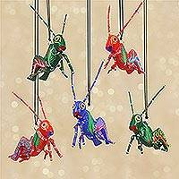 Wood ornaments, 'Colorful Grasshoppers' (set of 5) - Five Hand-Painted Grasshopper Alebrije Ornaments from Mexico