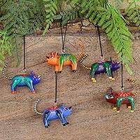 Wood ornaments, 'Colorful Alebrije Pigs' (set of 5) - Five Hand-Painted Pig Alebrije Ornaments from Mexico
