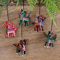 Wood alebrije ornaments, 'Colorful Pegasus' (set of 5) - Five Hand-Painted Pegasus Alebrije Ornaments from Mexico