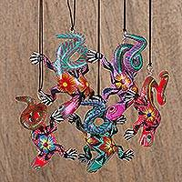 Wood alebrije ornaments, 'Colorful Iguanas' (set of 5) - Five Hand-Painted Iguana Alebrije Ornaments from Mexico