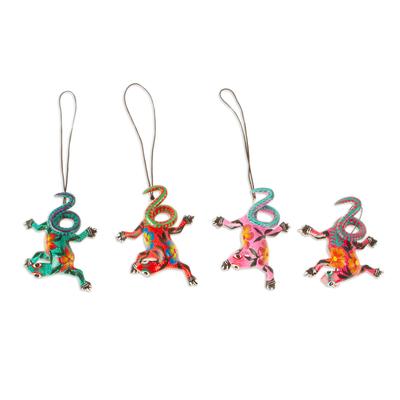 Wood alebrije ornaments, 'Colorful Iguanas' (set of 5) - Five Hand-Painted Iguana Alebrije Ornaments from Mexico