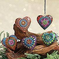 Wood mini ornaments, 'Alebrije Hearts' (set of 5)