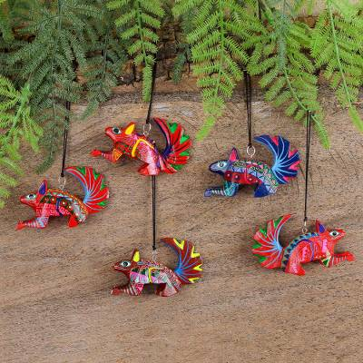 Wood alebrije ornaments, 'Colorful Squirrels' (set of 5) - Five Hand-Painted Squirrel Alebrije Ornaments from Mexico