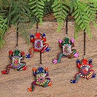 Wood alebrije ornaments, 'Colorful Frogs' (set of 5)