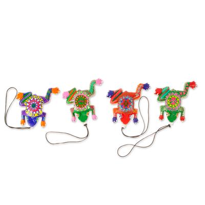 Wood alebrije ornaments, 'Colorful Frogs' (set of 5) - Five Hand-Painted Frog Alebrije Ornaments from Mexico