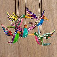 Wood alebrije ornaments, 'Hummingbird Beauties' (set of 5)