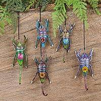 Wood alebrije ornaments, 'Colorful Scorpions' (set of 5) - Five Hand-Painted Scorpion Alebrije Ornaments from Mexico