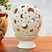 Ceramic candle holder, 'Glowing Egg' - Ceramic Candle Holder with Circular Motifs from Mexico