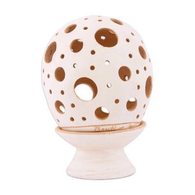 Ceramic Candle Holder with Circular Motifs from Mexico