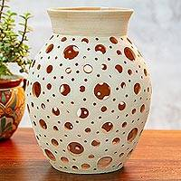 Ceramic decorative vase, 'Transparency' - Handcrafted Hole Motif Ceramic Decorative Vase from Mexico