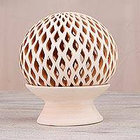 Ceramic candle holder, 'Glowing Rain' - Handcrafted Beige Ceramic Candle Holder from Mexico