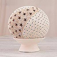 Ceramic candle holder, 'Star Wave' - Handcrafted Star Motif Ceramic Candle Holder from Mexico