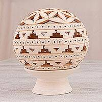 Ceramic candle holder, 'Plentiful Harmony' - Geometric Motif Ceramic Candle Holder from Mexico