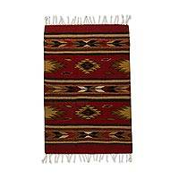 Wool area rug, 'Russet Country' (2x3) - Handwoven 2x3 Geometric Wool Area Rug in Russet from Mexico