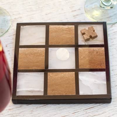 Onyx and marble tic-tac-toe  set, 'Sophistication and Fun' - Onyx and Marble Tic-Tac-Toe Set from Mexico