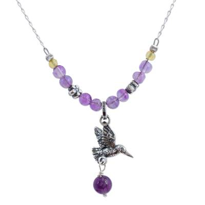 Amethyst and copal pendant necklace, 'Avian Tranquility' - Amethyst and Copal Hummingbird Pendant Necklace from Mexico