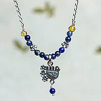 Lapis lazuli pendant necklace, 'Serenity Dove' - Lapis Lazuli and Silver Dove Pendant Necklace from Mexico