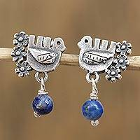 Lapis lazuli dangle earrings, 'Serenity Dove' - Floral Dove Lapis Lazuli Dangle Earrings from Mexico