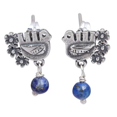 Lapis lazuli dangle earrings, 'Serenity Dove' - Floral Dove Lapis Lazuli Dangle Earrings from Mexico