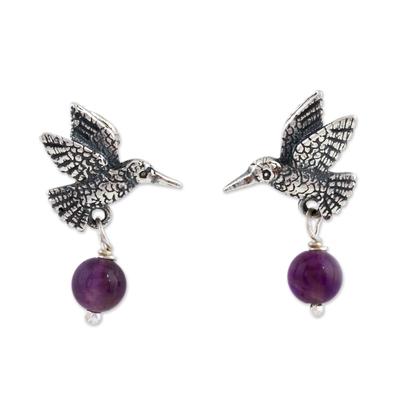 Amethyst dangle earrings, 'Avian Tranquility' - Amethyst and Silver Bird Dangle Earrings from Mexico