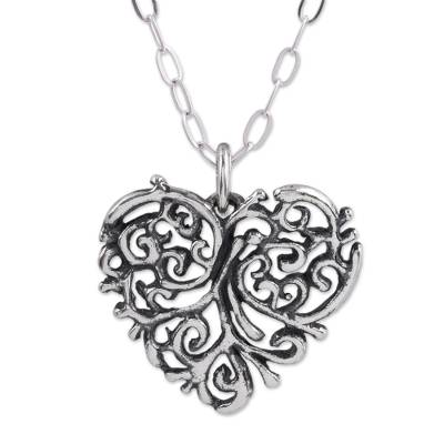 Sterling silver pendant necklace, 'Memories of the Heart' - Sterling Silver Openwork Heart Pendant Necklace from Mexico
