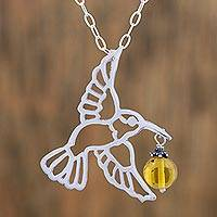 Copal pendant necklace, 'Flight of the Hummingbird' - Copal and Sterling Silver Hummingbird Necklace from Mexico