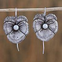 Cultured pearl drop earrings, 'Flowering Glow' - Cultured Pearl and Silver Floral Drop Earrings from Mexico
