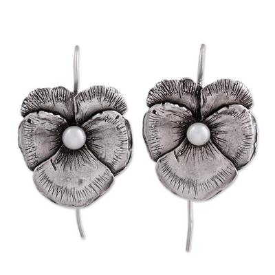 Cultured pearl drop earrings, 'Flowering Glow' - Cultured Pearl and Silver Floral Drop Earrings from Mexico
