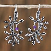 Amethyst drop earrings, 'Magical Berries' - Amethyst and Silver Leafy Dangle Earrings from Mexico