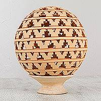 Ceramic candle holder, 'Illuminated' - Artisan Crafted Spherical Ceramic Candle Holder