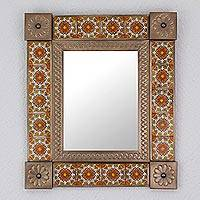 Ceramic and tin mirror, 'Colonial Flair' - Handcrafted Ceramic and Tin Floral Mirror from Mexico