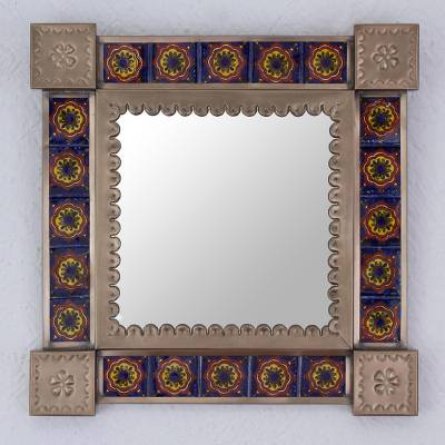Ceramic and tin wall mirror, 'Reflections and Flowers' - Ceramic and Tin Square Wall Mirror from Mexico