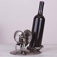 Recycled auto parts wine bottle holder, 'Rustic Romance'