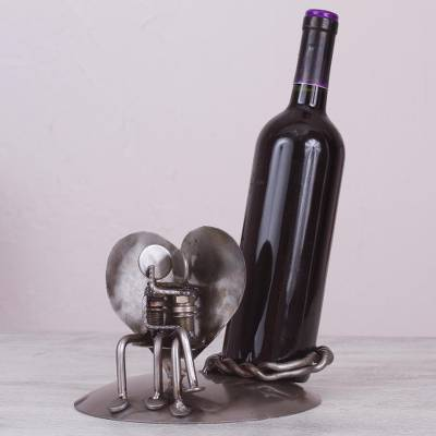 Recycled auto parts wine bottle holder, 'Rustic Romance' - Rustic Auto Part Sculpture Wine Bottle Holder from Mexico