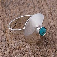 Turquoise cocktail ring, 'Futuristic Fashion' - Natural Turquoise and Silver Cocktail Ring from Mexico
