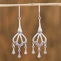 Sterling silver chandelier earrings, 'Seashell Rain' - Sterling Silver Drop-Shaped Chandelier Earrings from Mexico
