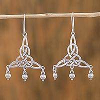 Sterling silver chandelier earrings, 'Wonderful Knots' - Sterling Silver Knot Motif Chandelier Earrings from Mexico