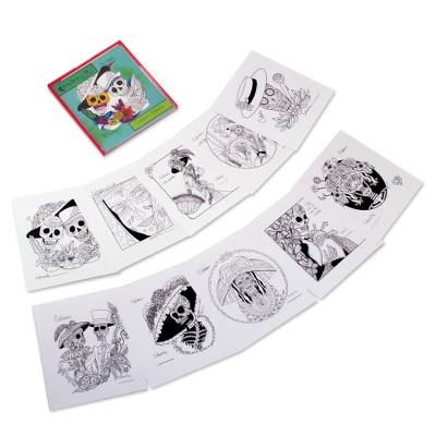 Day of the Dead Adult Coloring Cards from Mexico (Set of 10)