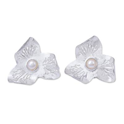 Sterling Silver and Cultured Pearl Flower Button Earrings