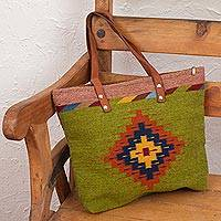 Wool and leather accent tote handbag, 'Olive Horizon' - Olive Green Wool and Leather Accent Tote Handbag from Mexico